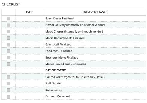 Restaurant Event Checklist